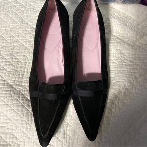 Black Suede Pointe Short Heel Loft Shoes